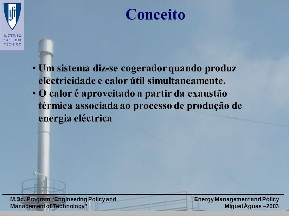 Conceito Um sistema diz-se cogerador quando produz electricidade e calor útil simultaneamente.