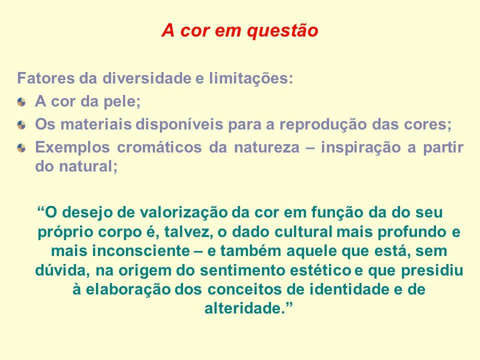 A cor em questão Fatores da diversidade e limitações: A cor da pele;