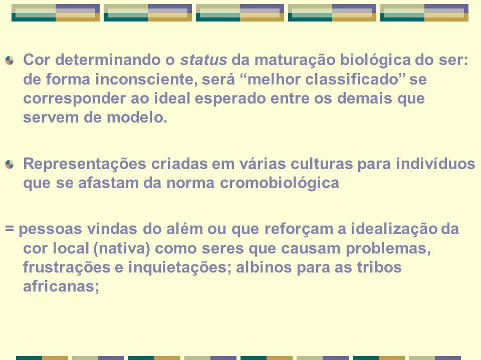 Cor determinando o status da maturação biológica do ser: de forma inconsciente, será melhor classificado se corresponder ao ideal esperado entre os demais que servem de modelo.