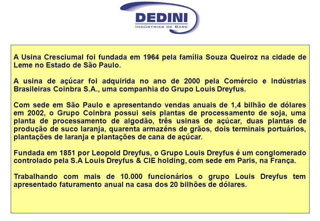 A Usina Cresciumal foi fundada em 1964 pela família Souza Queiroz na cidade de Leme no Estado de São Paulo.