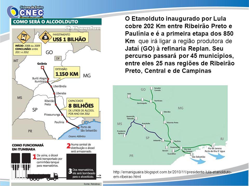 O Etanolduto inaugurado por Lula cobre 202 Km entre Ribeirão Preto e Paulínia e é a primeira etapa dos 850 Km que irá ligar a região produtora de Jataí (GO) à refinaria Replan. Seu percurso passará por 45 municípios, entre eles 25 nas regiões de Ribeirão Preto, Central e de Campinas