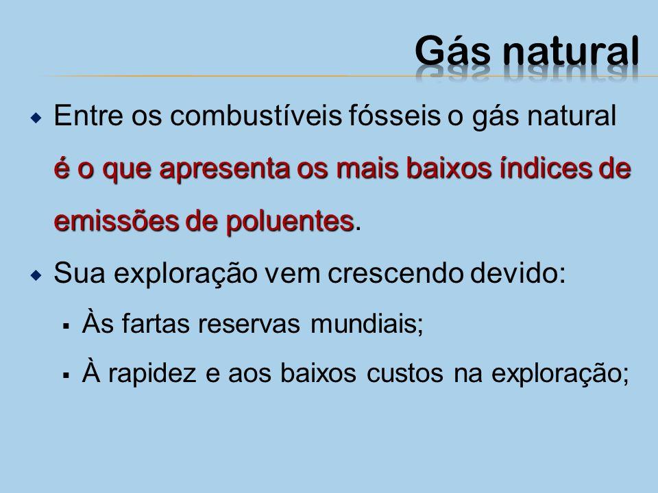 Gás natural Entre os combustíveis fósseis o gás natural é o que apresenta os mais baixos índices de emissões de poluentes.
