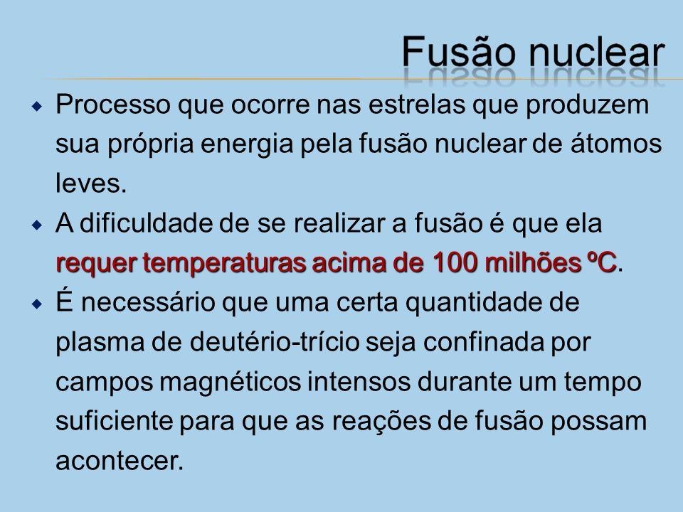 Processo que ocorre nas estrelas que produzem sua própria energia pela fusão nuclear de átomos leves.