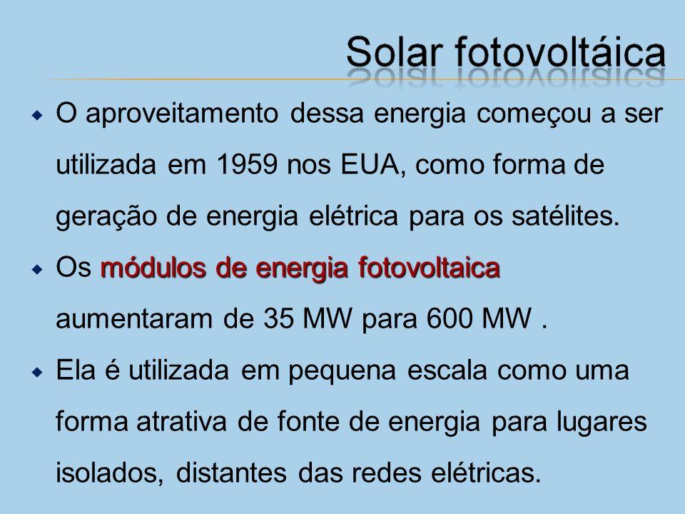 O aproveitamento dessa energia começou a ser utilizada em 1959 nos EUA, como forma de geração de energia elétrica para os satélites.