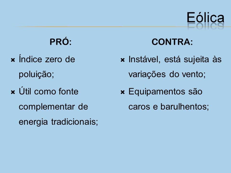 PRÓ: Índice zero de poluição; Útil como fonte complementar de energia tradicionais; CONTRA: Instável, está sujeita às variações do vento;