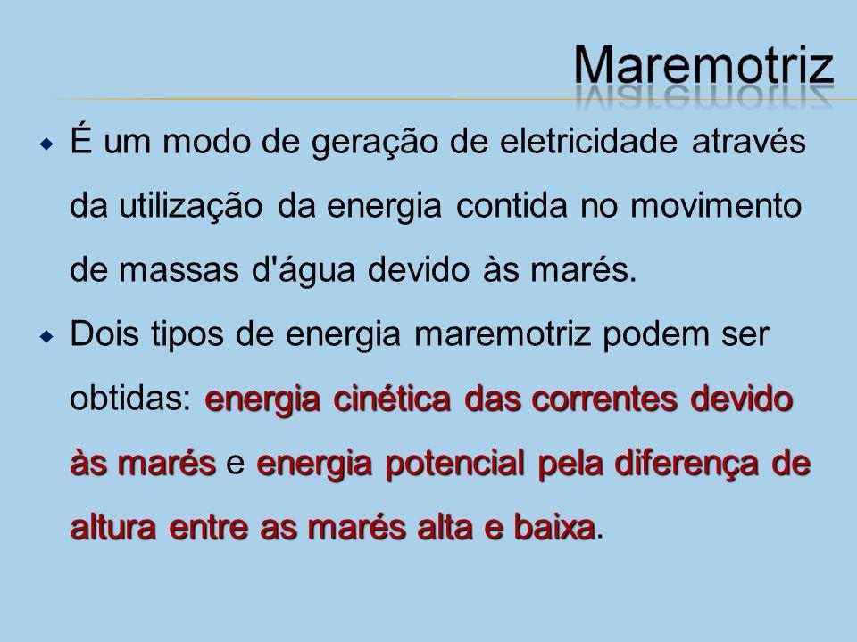É um modo de geração de eletricidade através da utilização da energia contida no movimento de massas d água devido às marés.
