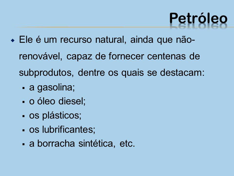 Petróleo Ele é um recurso natural, ainda que não-renovável, capaz de fornecer centenas de subprodutos, dentre os quais se destacam: