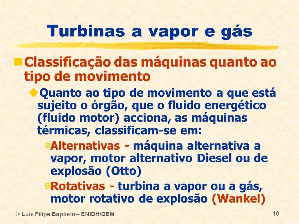 Turbinas a vapor e gás Classificação das máquinas quanto ao tipo de movimento.