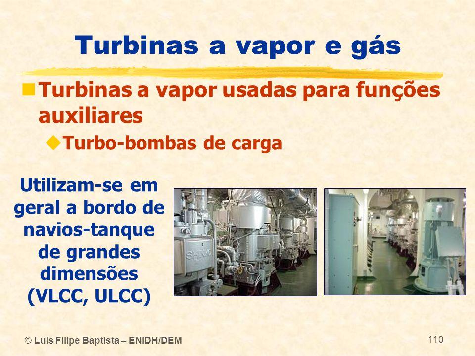 Turbinas a vapor e gás Turbinas a vapor usadas para funções auxiliares