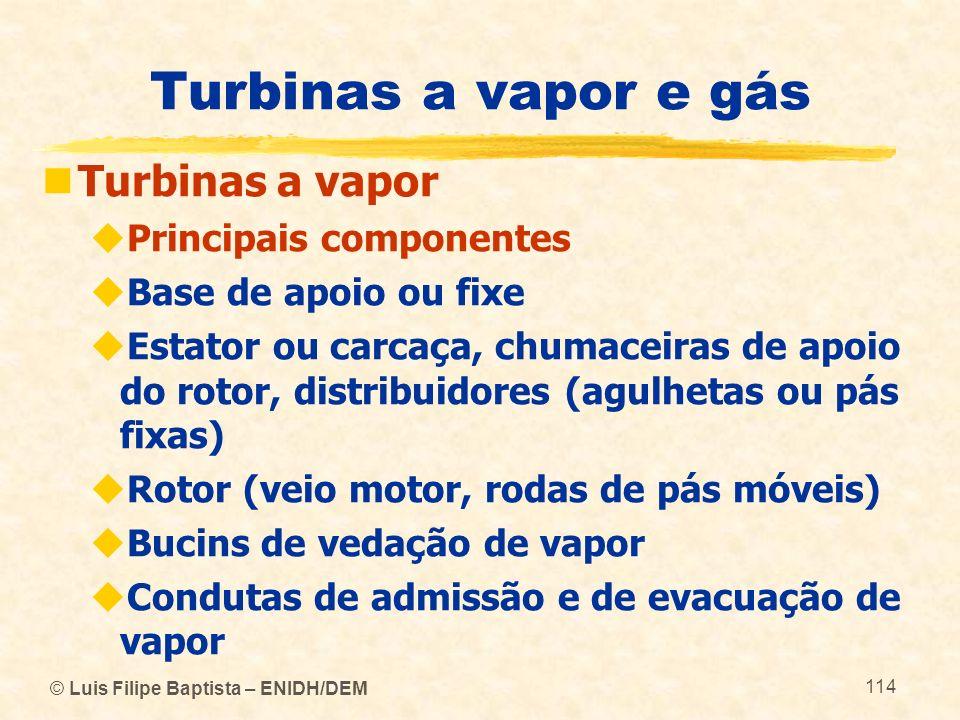 Turbinas a vapor e gás Turbinas a vapor Principais componentes