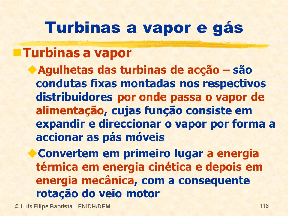 Turbinas a vapor e gás Turbinas a vapor
