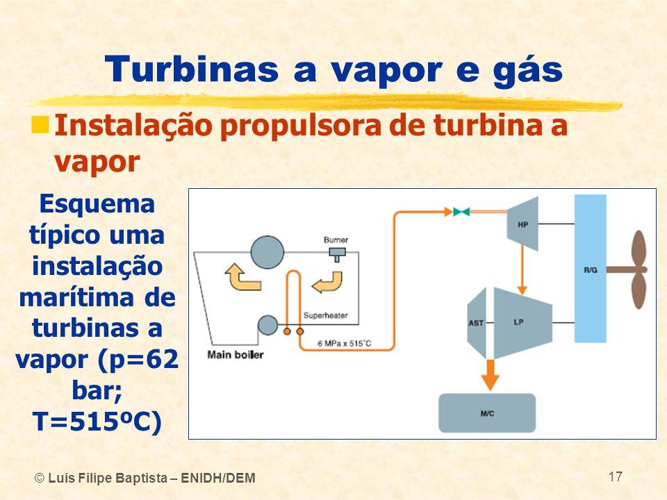 Turbinas a vapor e gás Instalação propulsora de turbina a vapor