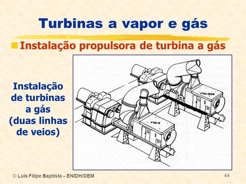 Instalação de turbinas a gás (duas linhas de veios)