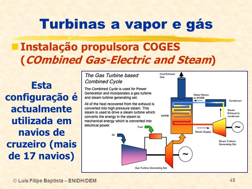 Turbinas a vapor e gás Instalação propulsora COGES (COmbined Gas-Electric and Steam)