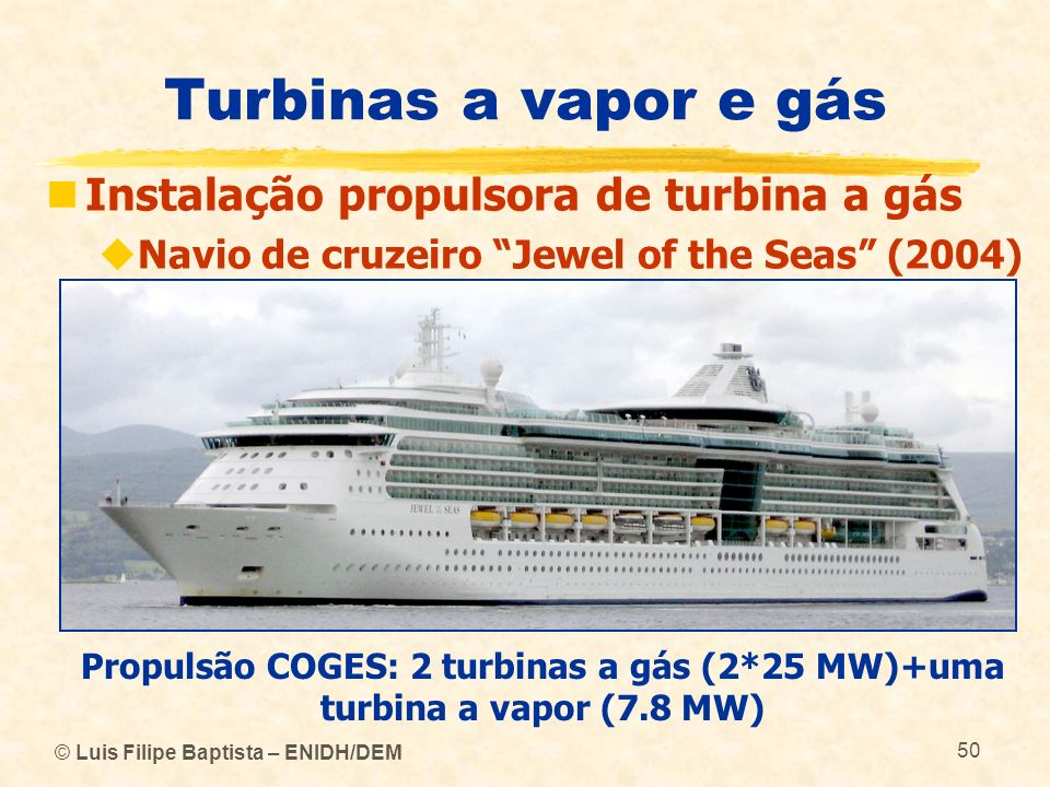 Turbinas a vapor e gás Instalação propulsora de turbina a gás