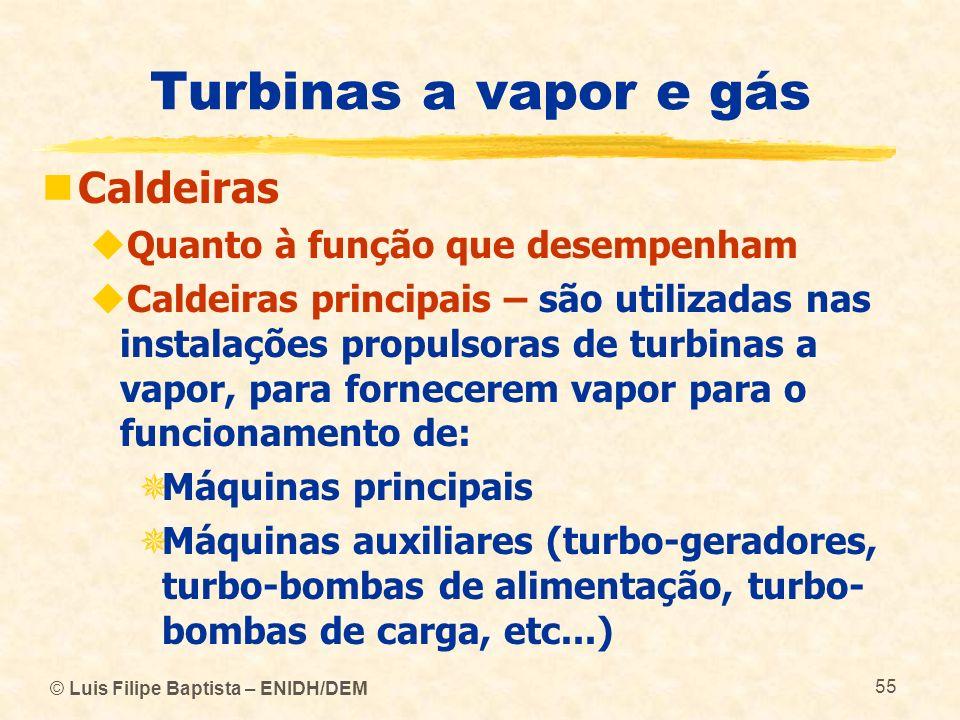 Turbinas a vapor e gás Caldeiras Quanto à função que desempenham