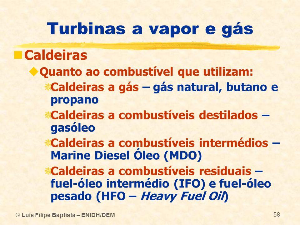 Turbinas a vapor e gás Caldeiras Quanto ao combustível que utilizam: