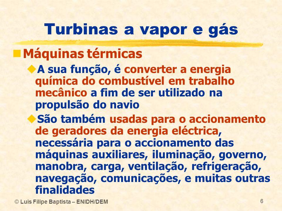 Turbinas a vapor e gás Máquinas térmicas