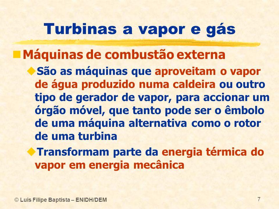 Turbinas a vapor e gás Máquinas de combustão externa