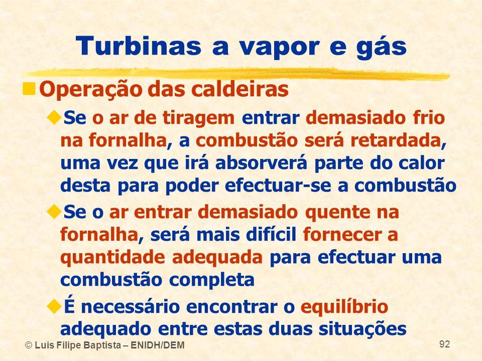 Turbinas a vapor e gás Operação das caldeiras