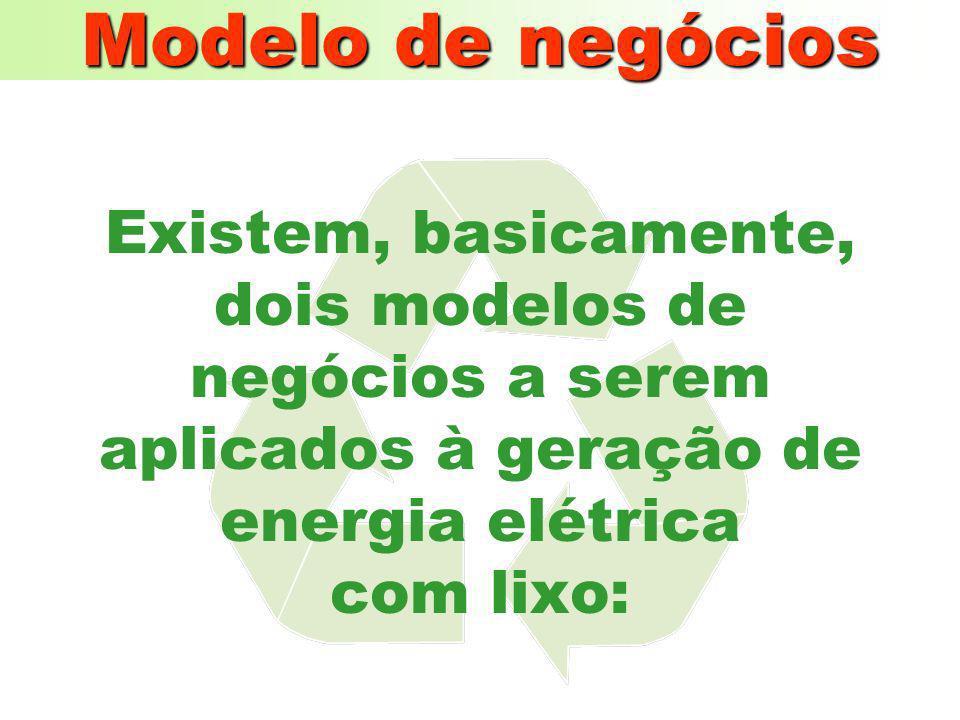Modelo de negócios Existem, basicamente, dois modelos de negócios a serem aplicados à geração de energia elétrica com lixo:
