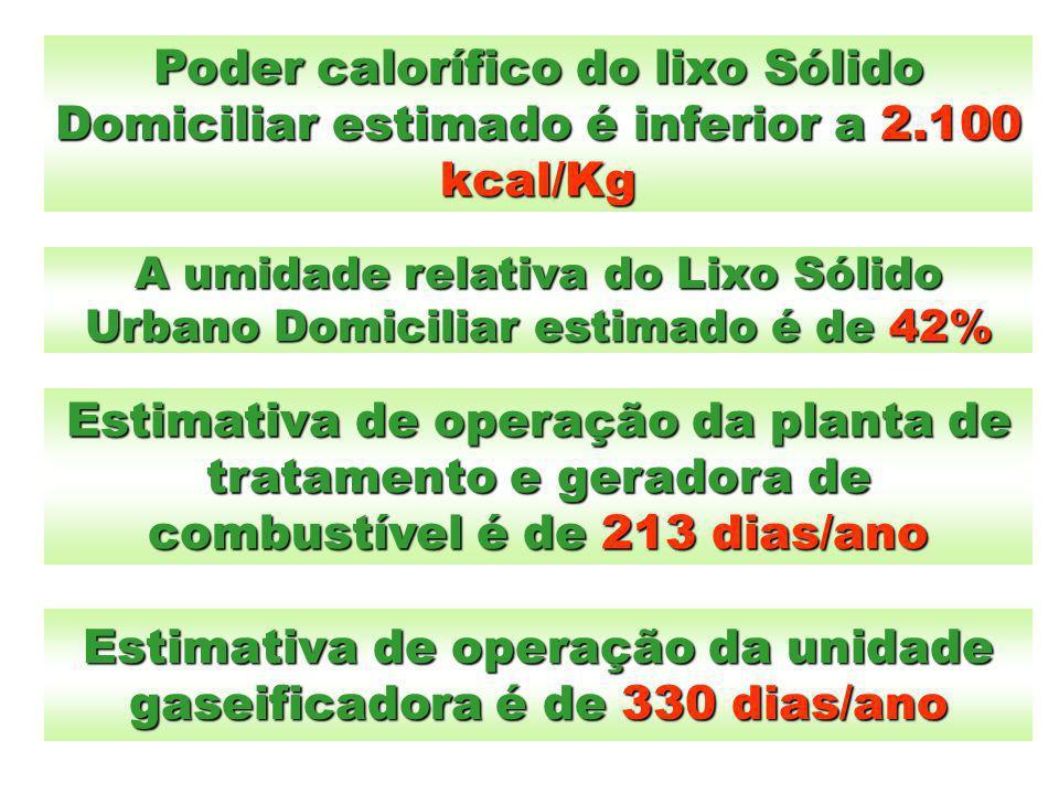 Estimativa de operação da unidade gaseificadora é de 330 dias/ano