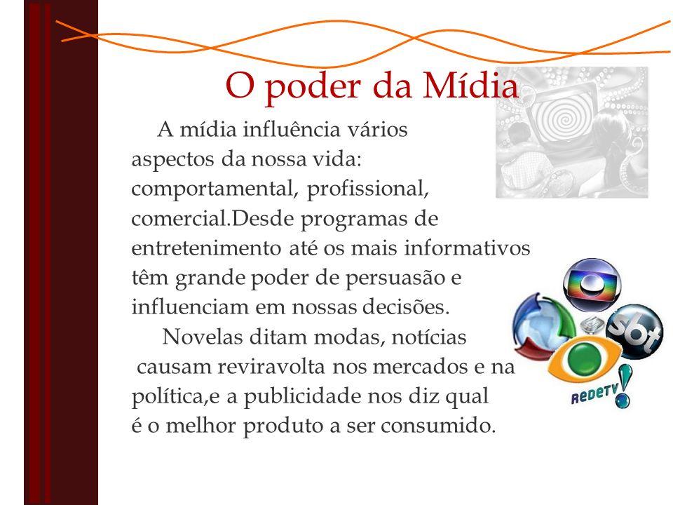 O poder da Mídia A mídia influência vários aspectos da nossa vida: