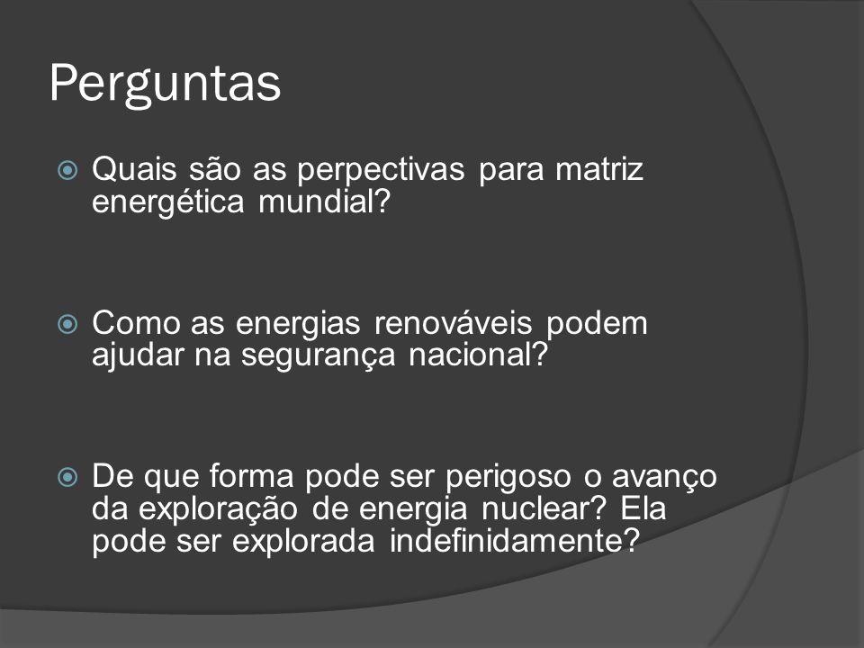Perguntas Quais são as perpectivas para matriz energética mundial