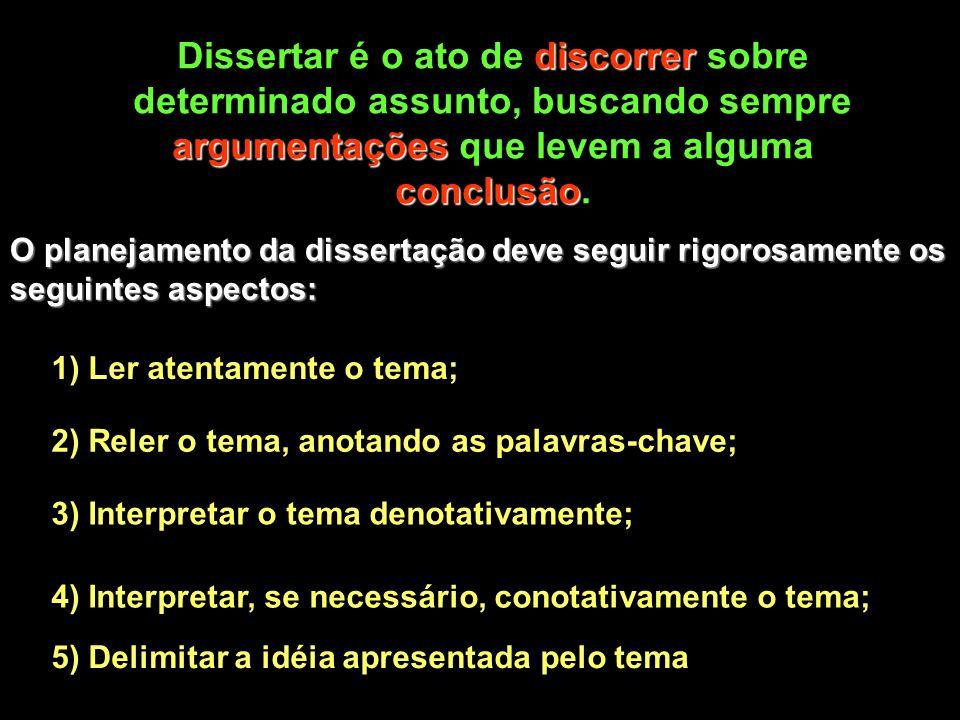 Dissertar é o ato de discorrer sobre determinado assunto, buscando sempre argumentações que levem a alguma conclusão.