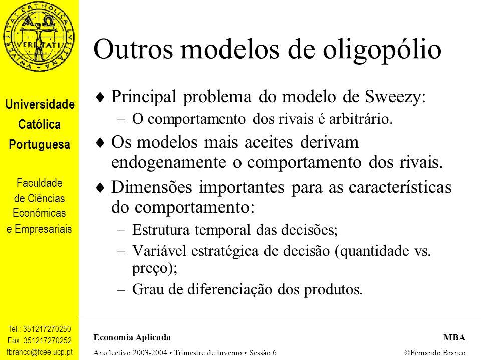 Outros modelos de oligopólio