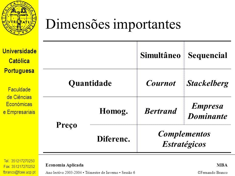 Dimensões importantes