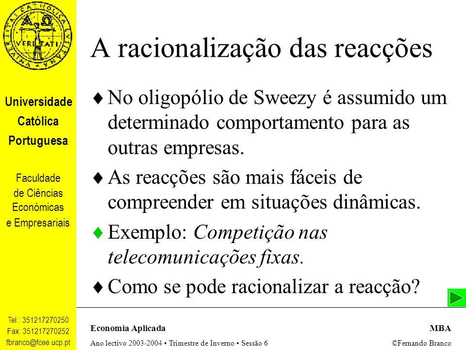 A racionalização das reacções
