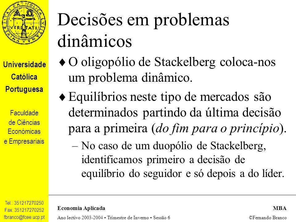 Decisões em problemas dinâmicos