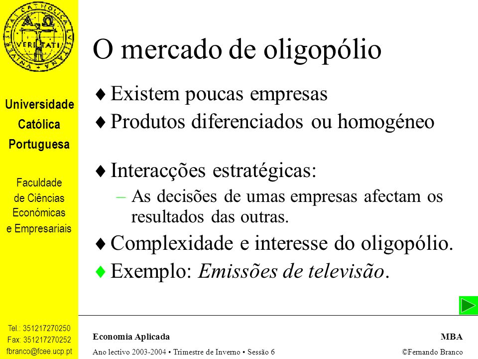 O mercado de oligopólio