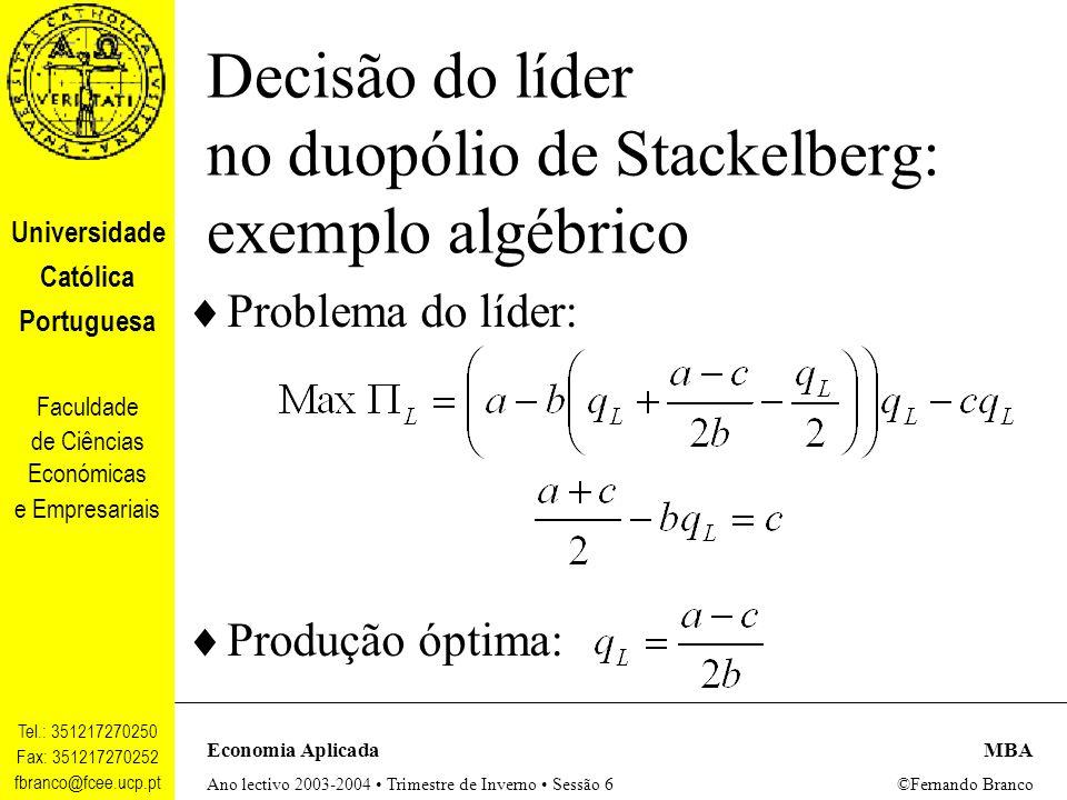 Decisão do líder no duopólio de Stackelberg: exemplo algébrico