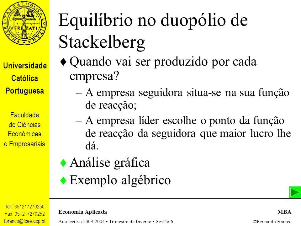 Equilíbrio no duopólio de Stackelberg