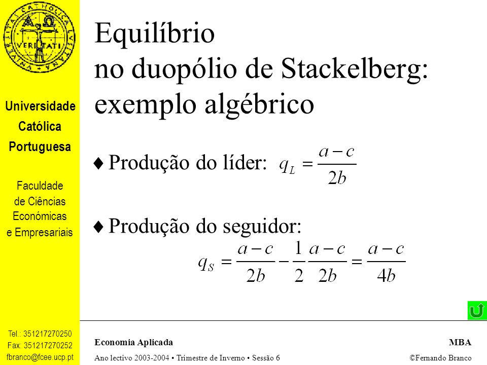 Equilíbrio no duopólio de Stackelberg: exemplo algébrico