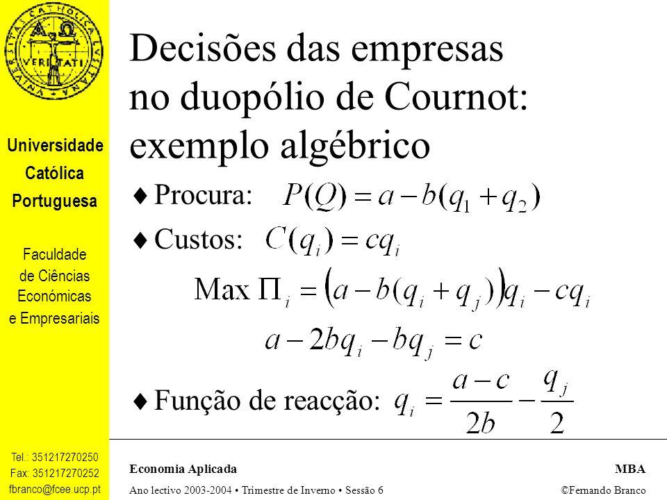 Decisões das empresas no duopólio de Cournot: exemplo algébrico