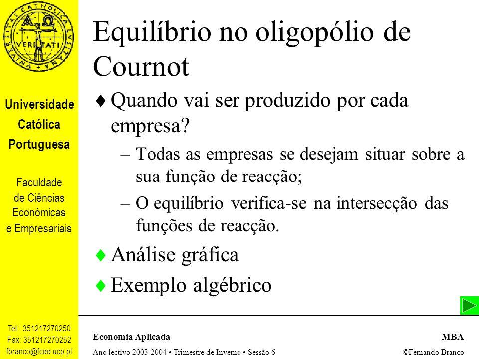 Equilíbrio no oligopólio de Cournot