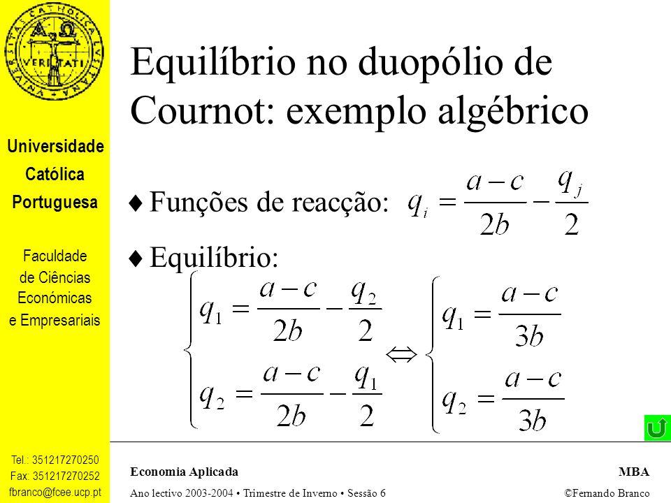 Equilíbrio no duopólio de Cournot: exemplo algébrico