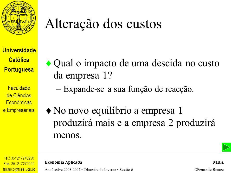 Alteração dos custos Qual o impacto de uma descida no custo da empresa 1 Expande-se a sua função de reacção.