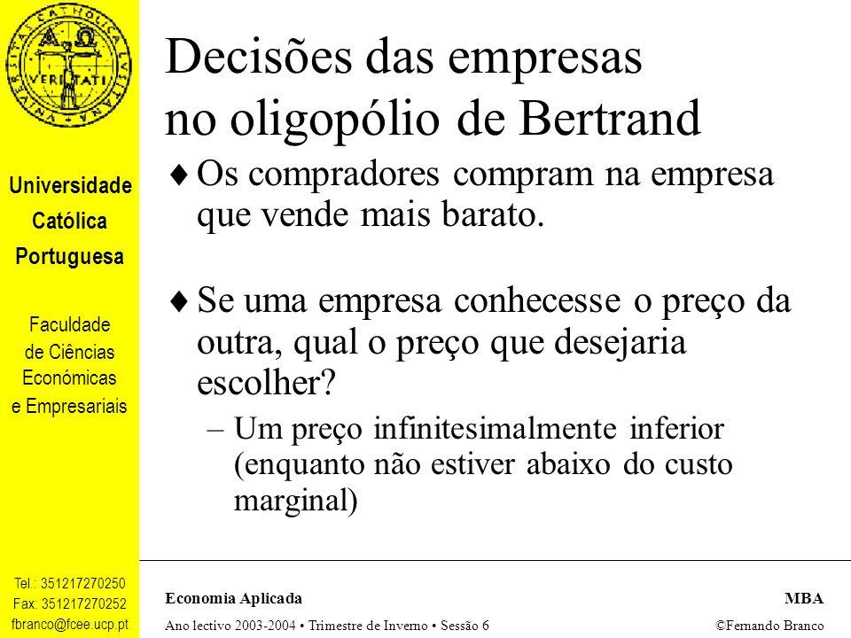 Decisões das empresas no oligopólio de Bertrand