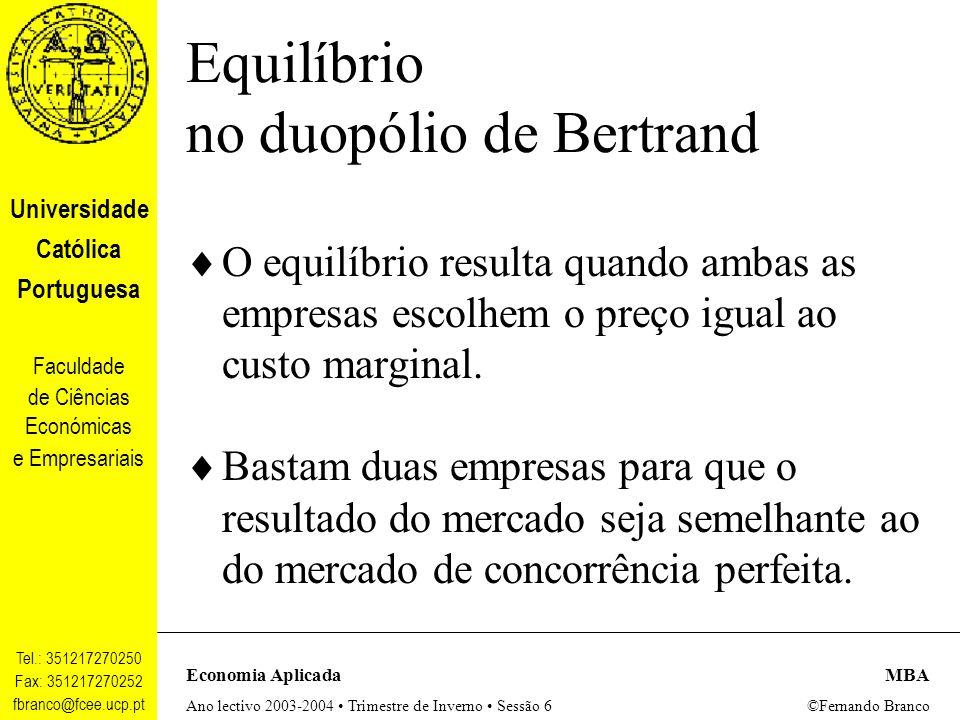 Equilíbrio no duopólio de Bertrand