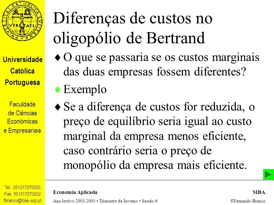 Diferenças de custos no oligopólio de Bertrand