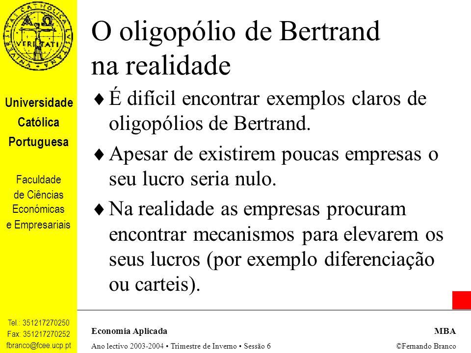 O oligopólio de Bertrand na realidade