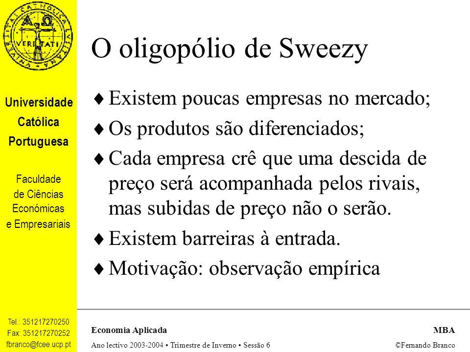 O oligopólio de Sweezy Existem poucas empresas no mercado;