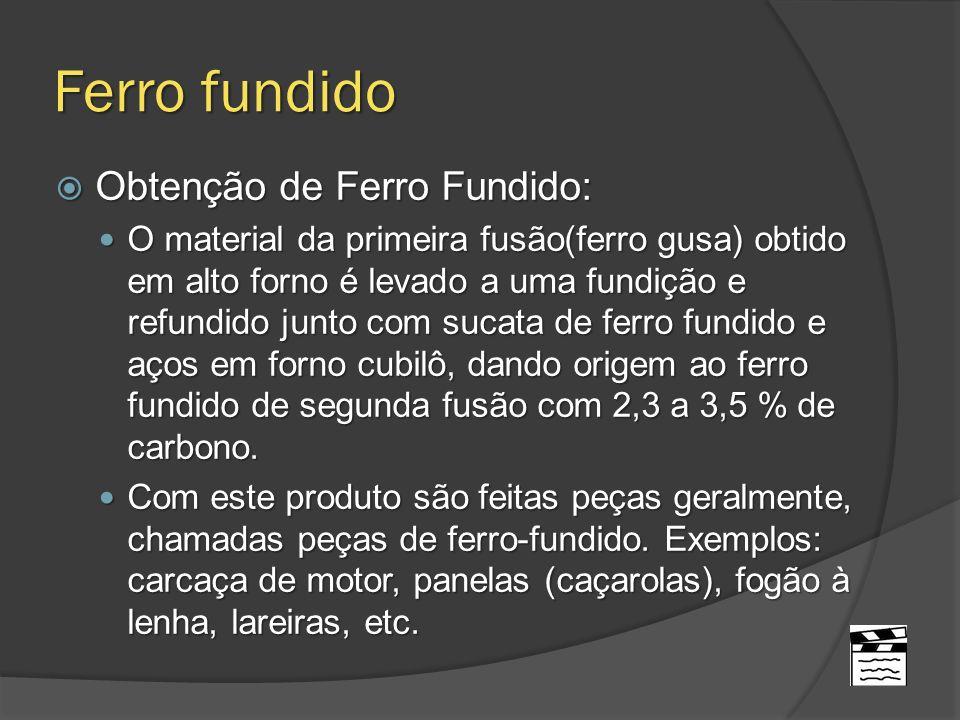 Ferro fundido Obtenção de Ferro Fundido: