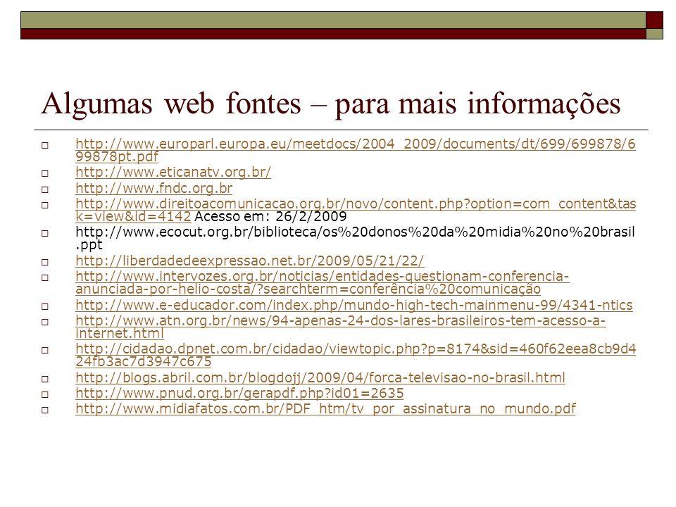 Algumas web fontes – para mais informações