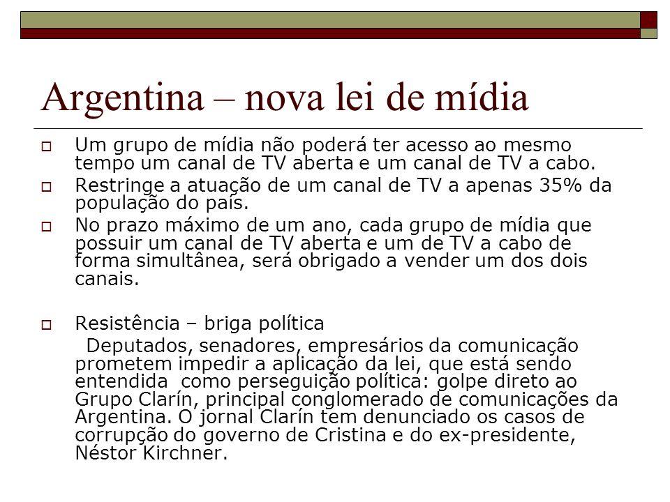 Argentina – nova lei de mídia