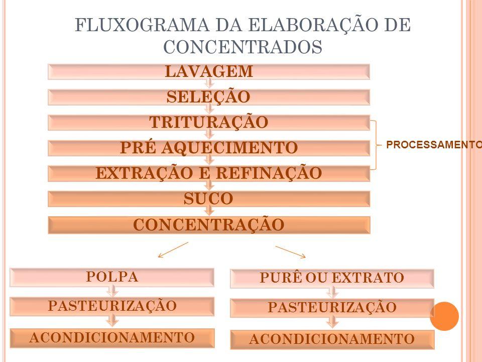 FLUXOGRAMA DA ELABORAÇÃO DE CONCENTRADOS